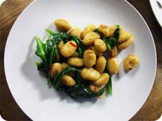 Gnocchi with Wild Garlic, Anchovies and Chilli.