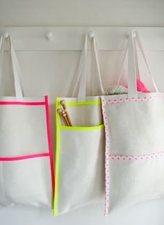 neon inside out bag tutorial - by The Purl Bee