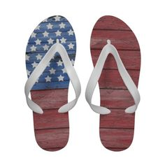 Old Wooden Wall American Flag Red White Blue Flip Flops / Flipflops / Sandals / Shoes
