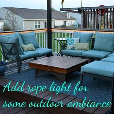 DIY Ideas | Create a relaxing outdoor living space by adding rope lights. This is such an easy DIY project that makes a big difference!