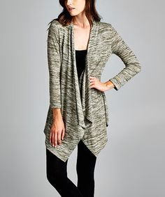 Look what I found on #zulily! Olive Space-Dye Open Cardigan - Women by Paolino #zulilyfinds