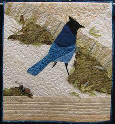 """Colorado Jay"", 32 x 34"", art quilt by Paula Mariedaughter."