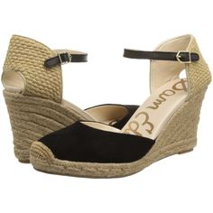 $48.00 Sam Edelman Harmony (Black Suede) Women's Wedge Shoes