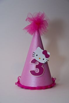 Items similar to Hello Kitty Party Hat on Etsy Princess Birthday Party Decorations, Kids Party Themes, 3rd Birthday Parties, Happy Birthday, Hello Kitty Birthday Cake, Hello Kitty Cake, Diy Party Designs, Anniversaire Hello Kitty, Hello Kitty Themes
