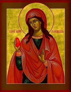 """it is said """"that after Jesus' Ascension, Mary travelled to visit the Emperor Tiberius in Rome and greeted him with: """"Christ has risen"""" [a traditional Orthodox Easter greeting, also adopted by many Christians]; whereupon he pointed to an egg on his table and quipped, """"Christ has no more risen than that egg is red."""" The egg, it is said, immediately turned blood red."""""""