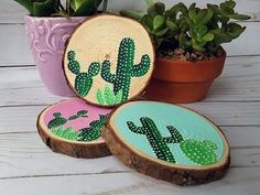 cactus coaster set cacti gifts hostess gift gifts for Mom cactus decor wood slice coasters home bar decor birthday gift Decoration Cactus, Cactus Craft, Cactus Gifts, Cactus Cactus, Indoor Cactus, Neon Cactus, Valentine Day Gifts, Valentines, Christmas Gifts