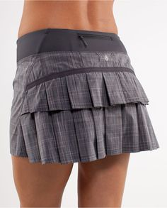 Running skirt--I don't own one, but it looks so cute!  All business in the front and a party in the back!  http://shop.lululemon.com/products/clothes-accessories/women-skirts-and-dresses/Run-Pace-Setter-Skirt-54545?cc=9678&skuId=3433299&CID=EMUS01172012D