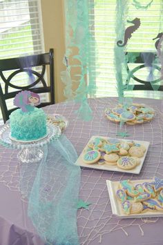 Pretty table at a mermaid birthday party! See more party planning ideas at CatchMyParty.com!