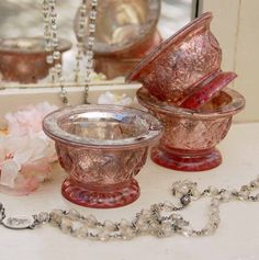 Pretty Pink Mercury Glass for Wedding Décor Ideas www.MadamPaloozaEmporium.com www.facebook.com/MadamPalooza