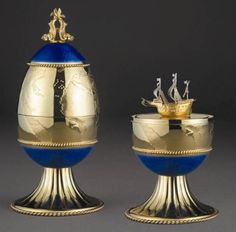 "(3) FABERGÉ eggs__ Theo Faberge___"" The New World Egg Theo Fabergé Limited Edition Imperial Styleof 30. / Height 8 ¼ inches."
