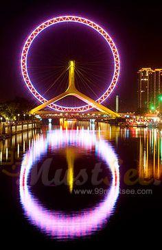 Amazing Giant Ferris Wheel On Bridge - Tianjin Eye, Tianjin, China