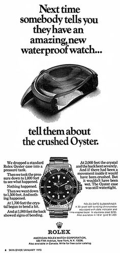 1972 Rolex Crushed Submariner Ad