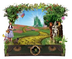 """""""Wizard of Oz"""" by eclecticcharms ❤ liked on Polyvore featuring art, wizard of oz, oz, toto, box sets, luggage, dorothy and boxes"""