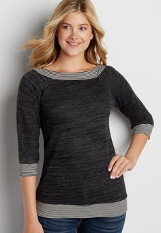 pullover sweatshirt with striped hems (original price, $34.00) available at #Maurices #wishpinwinsweepstakes #discovermaurices