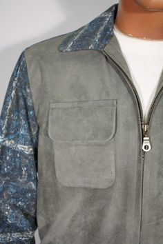 Size S+ Blue and Grey Vintage Fabric Jacket with Gray Faux Suede Front. See more or buy it at: http://www.reprovintageclothing.com/clothing/clothing_men/cm0067.html