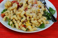Summer pasta with corn, cherry tomatoes, basil & bacony onions by Eve Fox, Garden of Eating blog copyright 2012 by Eve Fox