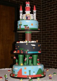 super-mario-cakes  http://cakesandcupcakesmumbai.com/2012/11/05/super-mario-bros-birthday-and-wedding-cakes/#