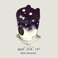 Night Star Cat Art by Nkim-Nadia kim Chat Kawaii, Arte Do Kawaii, Kawaii Cat, Kawaii Girl, Cute Animal Drawings, Kawaii Drawings, Cute Drawings, Cat Drinking, Cream Cat