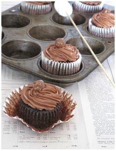 Unwrapped chocolate cupcake
