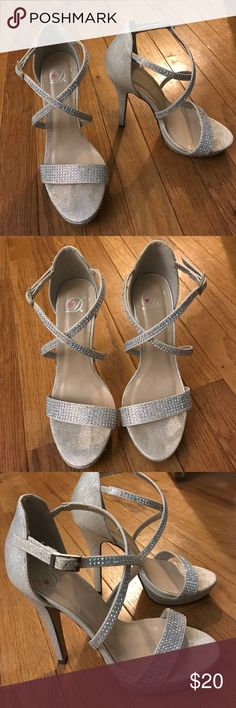 "Silver Special Occassion Heels Great condition! Silver studded 4"" heels, perfect for school dances or any other special occasion Shoes Heels"