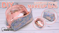 I made a new makeup pouch bag. It is a cosmetics bag, but it is a versatile small pouch. Makeup Bag Tutorials, Diy Makeup Bag, Makeup Pouch, Sewing Tutorials, Sewing Tips, Sewing Projects, Sewing Makeup Bag, Tutorial Sewing, Sewing Hacks