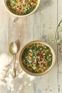Green wild garlic and Puy lentil soup - At the Kitchen Table