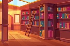 Buy Library Interior Empty Room for Books Reading by vectorpouch on GraphicRiver. Library interior, empty room for reading with books on wooden shelves, ladder, glass window on roof with falling sun . Scenery Background, Living Room Background, Cartoon Background, Anime Backgrounds Wallpapers, Anime Scenery Wallpaper, Wallpaper Quotes, Episode Interactive Backgrounds, Episode Backgrounds, Best Inspirational Books