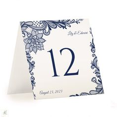 Table Number Template | Ornate Lace | Tent (Navy) – Karma K. Weddings