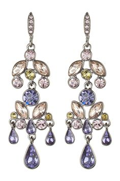 Givenchy Multi Color Crystal Large Chandelier Earrings