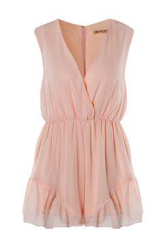 Pink V-neck Sleeveless Falbala Cuff Chiffon Jumpsuit