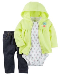 Baby Girl 3-Piece Neon Little Jacket Set  Designed for all-day play, dressing is easy with this ready-to-wear matching set. Featuring a zip-up French terry jacket, this 3-piece set is complete with a coordinating cotton bodysuit and pants.