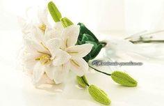 Букет ЛИЛИЙ своими руками. Вязание крючком хлопчатобумажной пряжей «ирис» для всех лрукодельниц, любящих создавать цветы handmade.