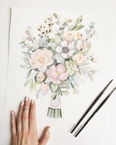 "4,914 Likes, 42 Comments - Illustrations|lifestyle (@vicky_od) on Instagram: ""Уже давно хотела,чтобы кто нибудь заказал букетик,как я люблю,и вот я его рисую"""