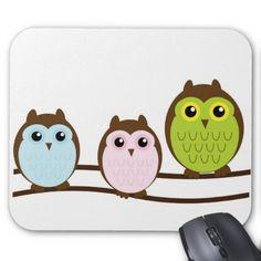Owls Mouse Pads #Owl #Bird #MousePad