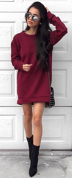 #winter #fashion /  Burgundy Dress + Black Booties