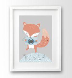 Digitaldruck - Kleiner Fuchs mit Kamera, Kinderposter - ein Designerstück von nanamiadesign bei DaWanda