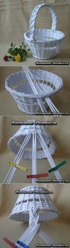 How to weave handle baskets from newspapers - Handmade-Paradise Diy Crafts To Sell, Diy Crafts For Kids, Handmade Crafts, Sell Diy, Kids Diy, Newspaper Basket, Newspaper Crafts, Willow Weaving, Basket Weaving
