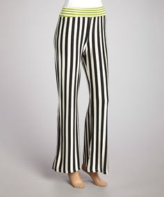Look at this Navy & Green Stripe Chloe Palazzo Pants - Women on #zulily today!