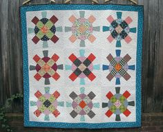 Modified Wagon Wheel Quilt Patchwork Lap Quilt by IVANandLUCY