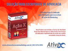 Boa Tarde Pessoal! Sabia que nós temos uma linha exclusiva de Produtos para Advogados e Escritórios de Advocacia? Então Conheça um deles: Produto AÇÃO X – Marketing para Advogados! <br /><br />#AtivoxSoluçõesEmMarketing #MarketingParaAdvogados<br />http://bit.ly/2hnnyfI