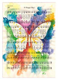 Butterfly watercolor on Vintage Inspirational Sheet music, O Happy Day. www.kitsunderland.com follow Kit Sunderland on Facebook www.facebook.com/pages/Kit-Sunderland/141759050719?ref=hl