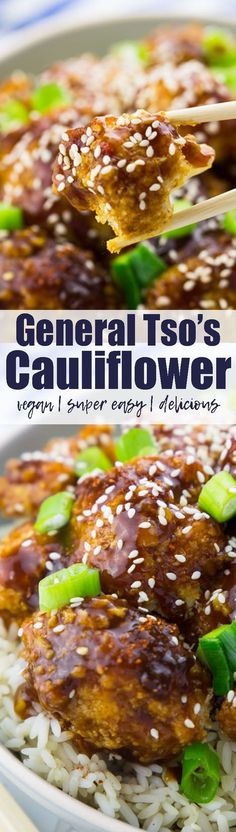 This vegan general tso's cauliflower is so crispy, delicious, and spicy-sweet! And it's just as good as the fried version, while being so much healthier! Welcome to cauliflower heaven! Find more vegetarian recipes at veganheaven.org