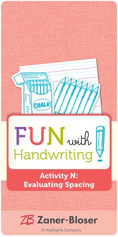 Easy-to-apply tools help students practice effective word spacing. Zaner Bloser Handwriting, Handwriting Activities, Grade 1, Arts And Crafts, Students, How To Apply, Tools, Easy, Fun