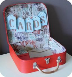 "Vintage suitcase for cards ""was thinking about making one for Michelle's wedding put it right by the guest book"