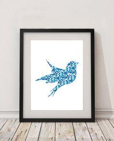 Geometric Blue Bird A2 A3 Poster Digital Print / Wall Art Home Decoration