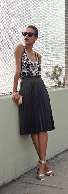 Knee length gorgeous accordian skirt printed tank sweet shades heels and good to go!