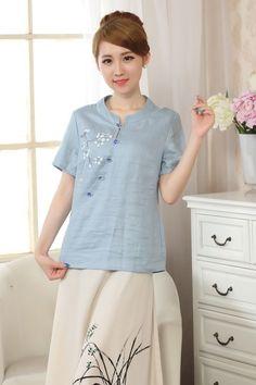 Women's Linen/Cotton Tops T-Shirt Blouse Cheongsam A0075 Blue Sz: S M L Xl Xxl
