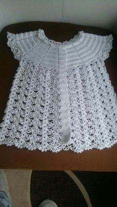 Irish lace, crochet, crochet p - Salvabrani Hand crochet/crocheted dress for your special little girl. This Pin was discovered by jr - Salvabrani Batita p/chambrita [] # knitting pattern for baby girl bolero How to crochet a beautiful tiny dres Crochet Baby Jacket, Crochet Baby Dress Pattern, Baby Girl Crochet, Crochet Baby Clothes, Baby Blanket Crochet, Crochet For Kids, Crochet Patterns, Diy Crafts Knitting, Diy Crafts Crochet