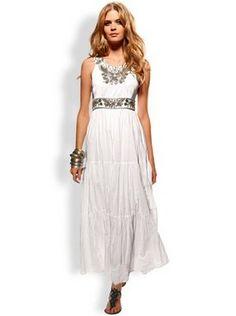 Vintage style boho hippie tea wedding dress