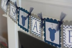 "Navy Blue and Grey Chevron - ""Mommy to Be"" ""Its a Boy"" Bodysuit One Piece Baby Shower Banner - Ask About Party Pack Specials"
